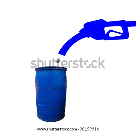 Nozzle  fuel pointing down on the tank to the fuel. - stock photo