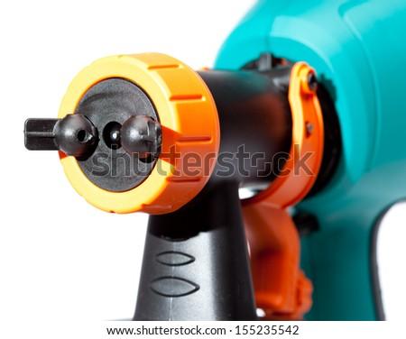 nozzle of an electrical spray gun close up - stock photo