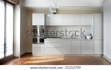 nterior of big white kitchen in apartment - stock photo