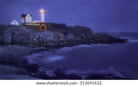 Nubble Lighthouse in Cape Neddick, Maine with Christmas Lights - stock photo
