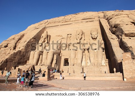 NUBIA, EGYPT - SEPTEMBER 13, 2010: Abu Simbel Temple on September 13, 2010 in Nubia, Egypt. It is an ancient landmark rock temple and a unesco world heritage. - stock photo