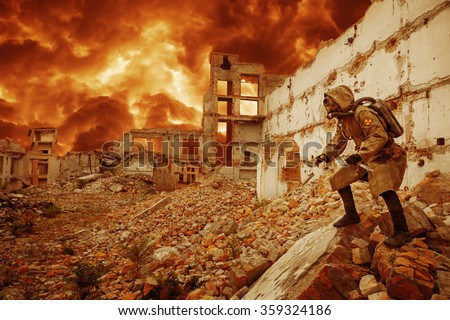 Nuclear apocalypse survivor - stock photo