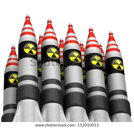 Nuclear bombs with radiation icon - stock photo