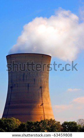 Nuclear cooling tower - stock photo
