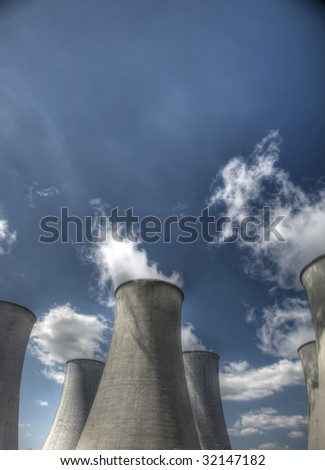 nuclear cooling towers - stock photo