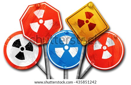 Nuclear danger background, 3D rendering, rough street sign colle - stock photo