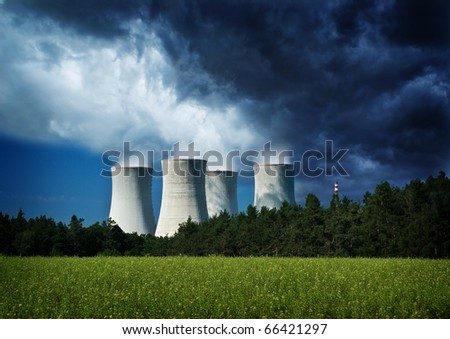 Nuclear danger, power station, climate change. - stock photo