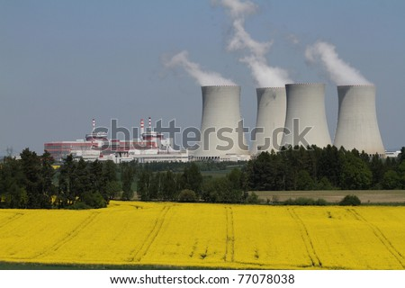 Nuclear electric power station Temelin in the South Bohemian - stock photo