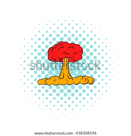 Nuclear explosion icon, comics style - stock photo