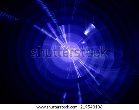 Nuclear fission, atom cross section, computer generated abstract fractal background - stock photo