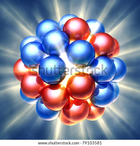 Nuclear fission , 3d illustration - stock photo