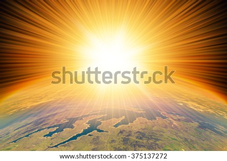 Nuclear Missile Blast impact  on planet Earth.  Third world war, end of the world, aerial view. - stock photo