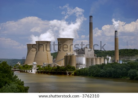 Nuclear Plant on the River - stock photo