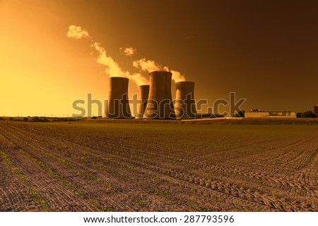 Nuclear power plant Dukovany in Czech Republic Europe, sunset sky - stock photo