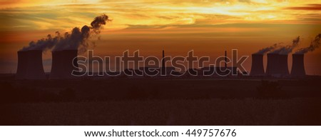 Nuclear power plant Dukovany in Czech Republic Europe.  The effect of film grain.  - stock photo