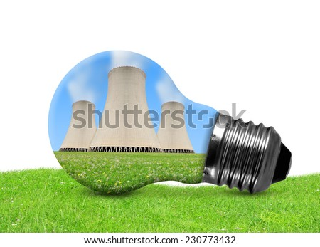 Nuclear power plant in bulb on white background - stock photo