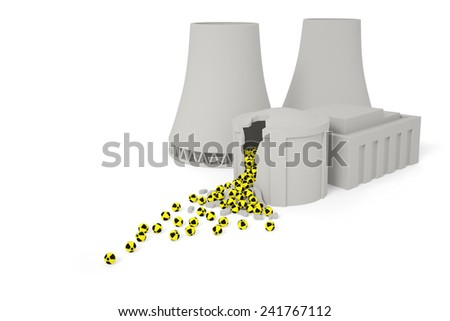 Nuclear power plant (station) ecology radiation catastrophe concept: radioactive elements drop out of the destroyed nuclear reactor as a result of explosion (accident) - stock photo