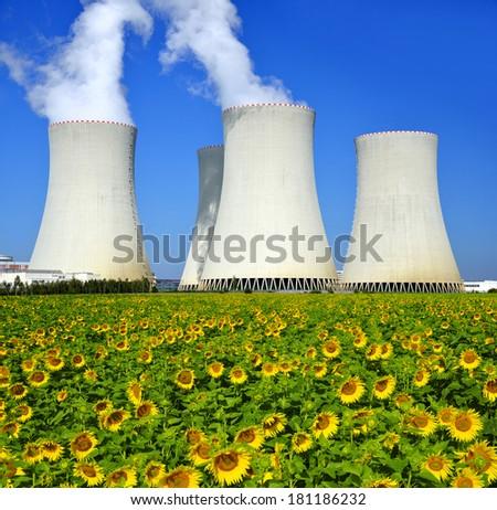 Nuclear power plant Temelin in Czech Republic - stock photo