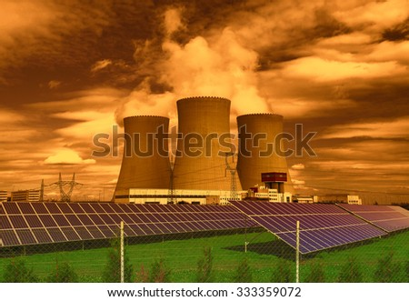 Nuclear power plant Temelin with solar panels in Czech Republic Europe - stock photo