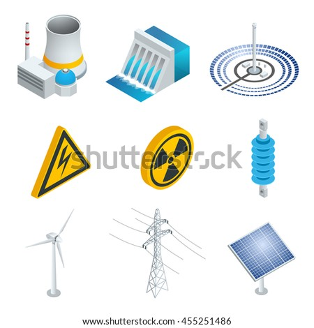 Nuclear power station, Solar power station, Wind turbine, solar panel, hydroelectric power station. 3d flat isometric set. Illustration of industrial icons. - stock photo