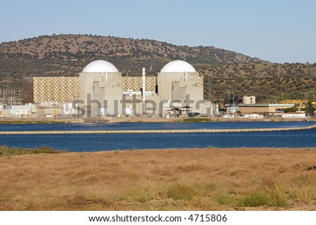 Nuclear power station with two atomic reactors - stock photo