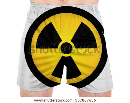 Nuclear radiation symbol painted on - stock photo