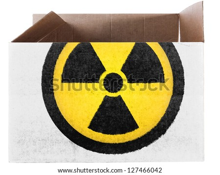 Nuclear radiation symbol   painted on carton box or package