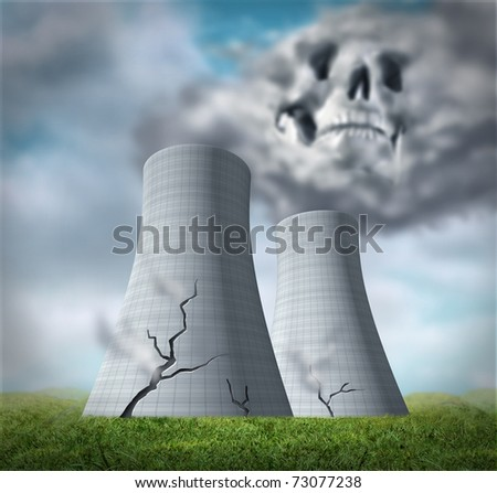 Nuclear reactor meltdown disaster symbol represented by damaged cracked cooling towers that are leaking cancer causing fallout of radioactive steam. - stock photo