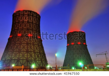 nuclear station in russia at night HDR - stock photo