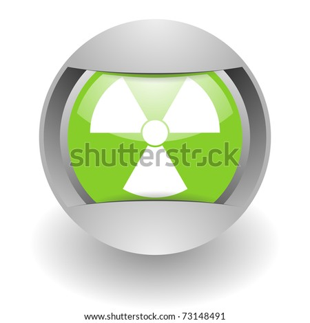 nuclear steel green glosssy icon - stock photo