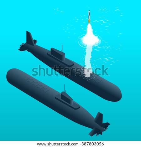Nuclear submarine, Nuclear submarine traveling underwater, Nuclear powered submarines, submarine ship, Nuclear submarine 3d, Nuclear submarine isometric illustration, Nuclear submarine - stock photo