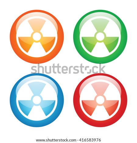 Nuclear Symbol Icon with Four Glass Button Icon.  Raster Version - stock photo