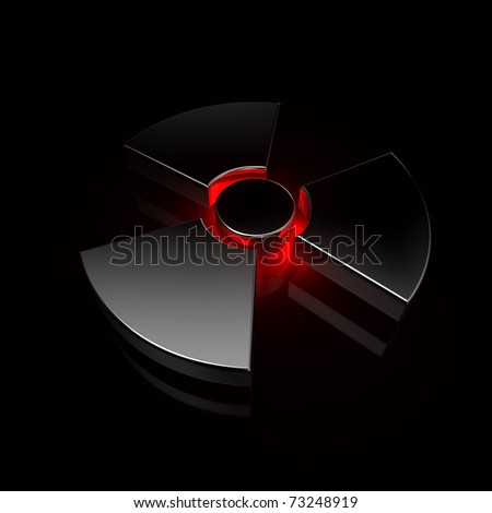 nuclear symbol - red&black - stock photo