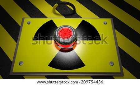Nuclear warning sign with red button background  - stock photo