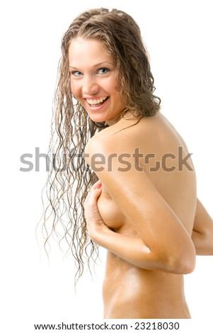 nude beautiful girl on white - stock photo