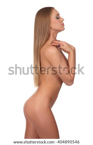 Nude body of the beautiful young woman. - stock photo