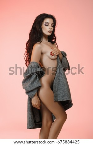 Naked girls with a coat on