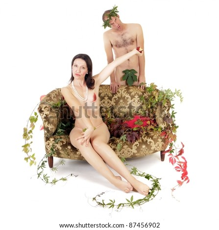 nude couple in conflict, woman refusing to eat red apple - stock photo