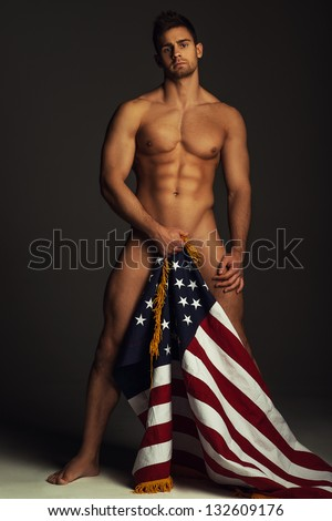 Nude man with american flag