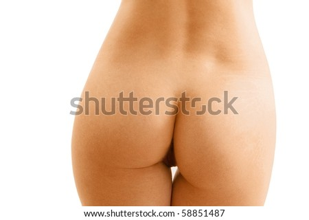 Nude sexy girl on the white background - stock photo