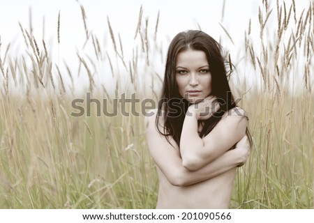 nude woman in the rye - stock photo