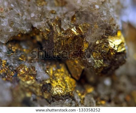 Nugget, gold, bronze, copper.  Macro. Extreme closeup - stock photo