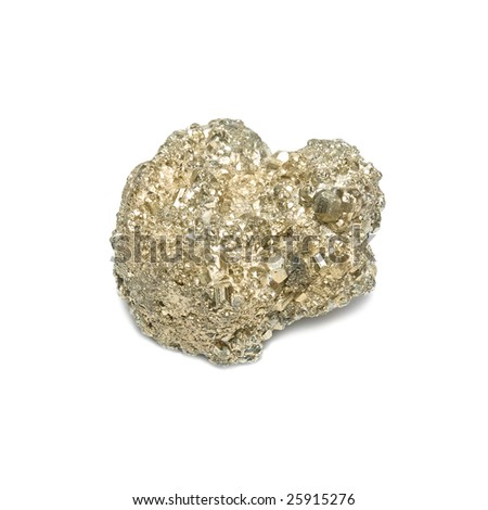 Nugget on fool's gold isolated on white. - stock photo