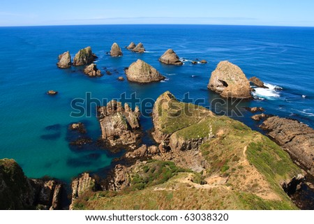Nugget point rocks in the catlins, new zealand - stock photo