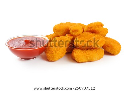 Nuggets, ketchup isolated on white background - stock photo
