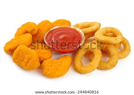Nuggets, onion rings, ketchup isolated on white background - stock photo