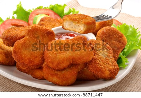 Nuggets with Salad - stock photo