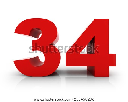 number 34 - stock photo