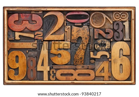 number abstract - random vintage wood letterpress prinitng blocks in a wooden box isolated on white - stock photo