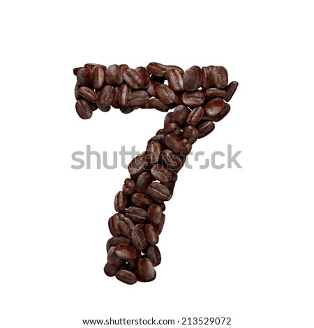 Number 7. Alphabet from coffee beans isolated on white.  - stock photo